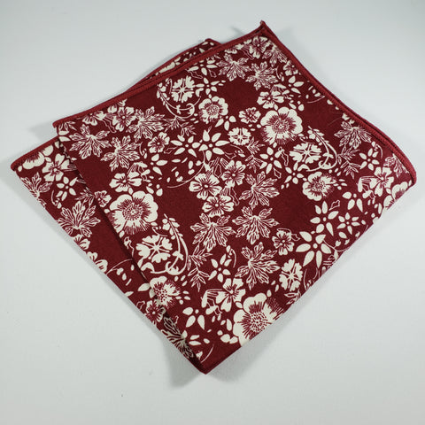 Dark Red Floral Pocket Square
