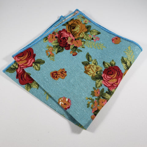 Light Blue Floral Pocket Square