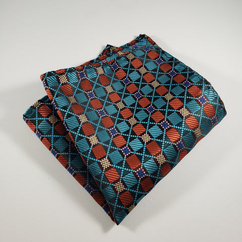 Teal & Red Checkered Pocket Square