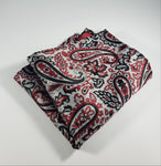 Gray with Black & Red Paisley Pocket Square