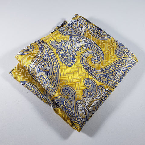 Gold & Blue Paisley Pocket Square
