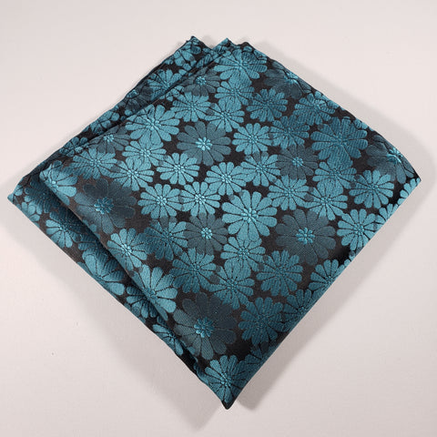 Teal Flowered Pocket Square