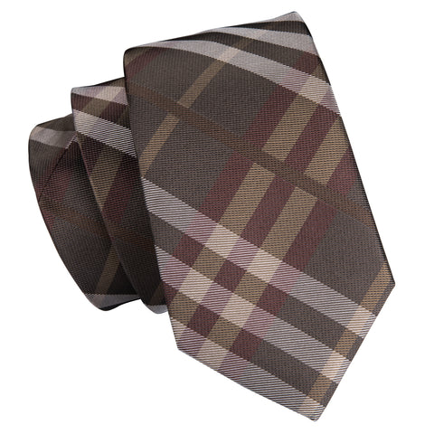 Brown Striped Necktie