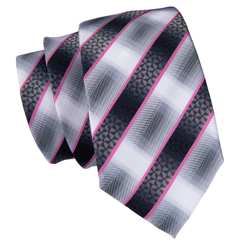 Pink & Gray Striped Necktie
