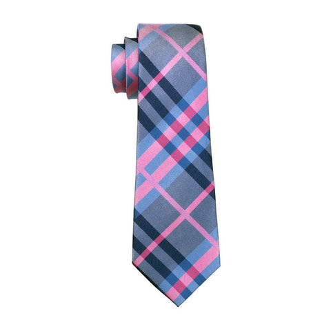 Light Pink & Blue Striped Necktie