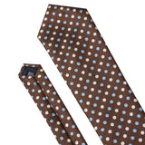 Brown with Tan & Blue Polka Dots Necktie