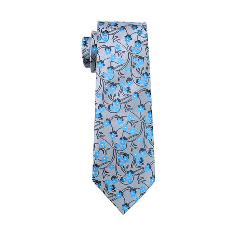 Gray with Black and Light Blue Flower Necktie