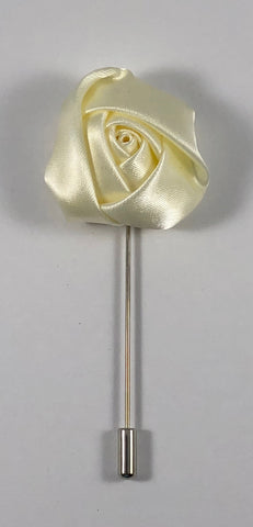 Creme Rose Flower Lapel Pin