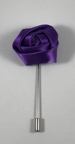 Dark Purple Rose Flower Lapel Pin