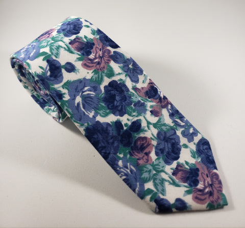White with Blue & Purple Floral Skinny Necktie
