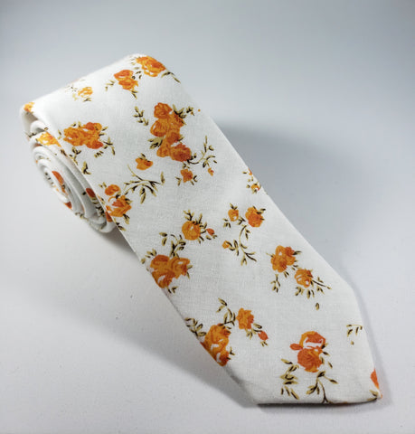 White & Orange Floral Skinny Necktie