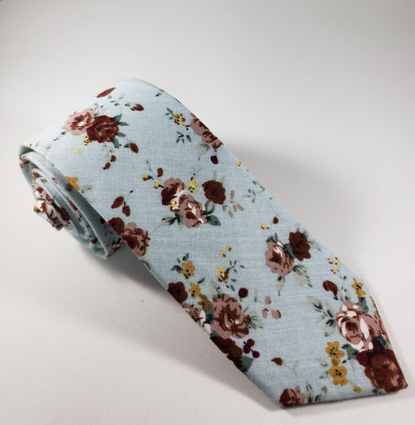 Light Blue & Maroon Floral Skinny Necktie