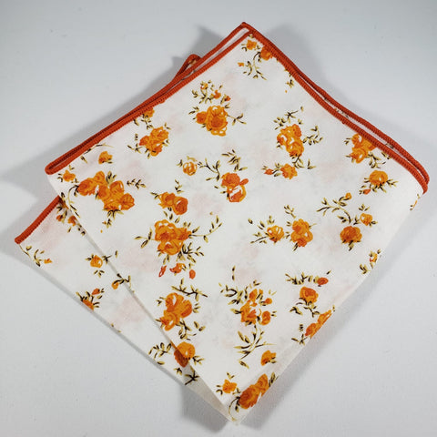 White & Orange Floral Pocket Square