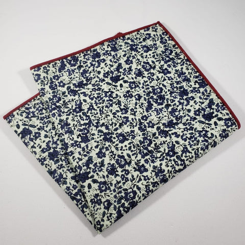 Beige & Blue Floral Pocket Square