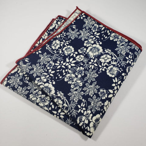 Blue & White Floral Pocket Square