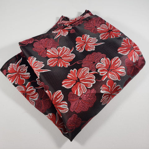 Black & Red Flower Pocket Square