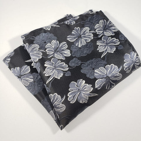 Black & Gray Flower Pocket Square