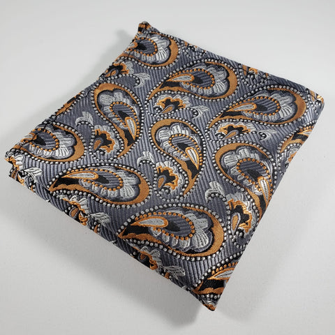 Gray & Orange Paisley Pocket Square