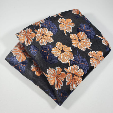 Blue & Orange Flower Pocket Square