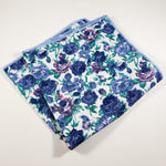 White with Blue & Purple Floral Pocket Square