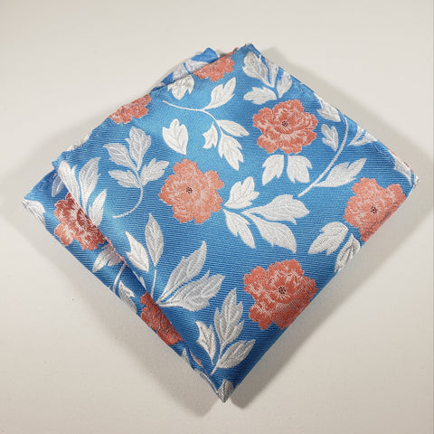Baby Blue & Peach Flower Pocket Square