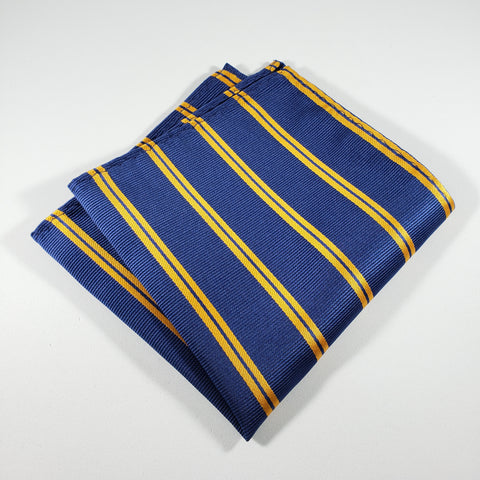 Blue & Gold Striped Pocket Square