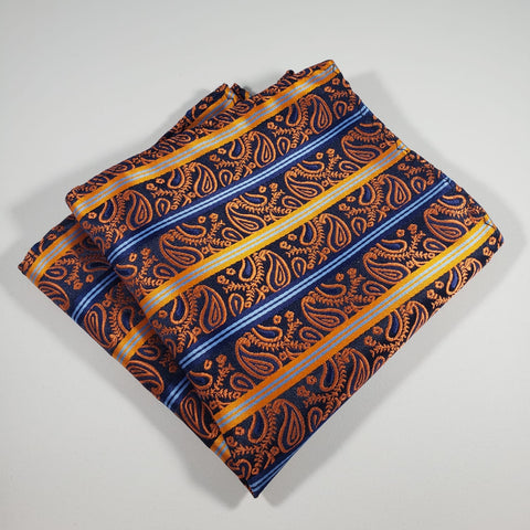 Paisley Striped Orange Pocket Square
