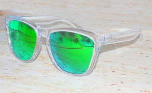 ClearTransparent frame w/green mirror lens