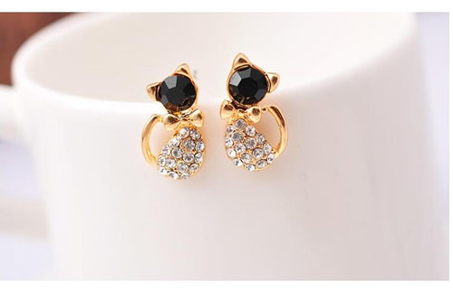 Crystal Cat Earrings