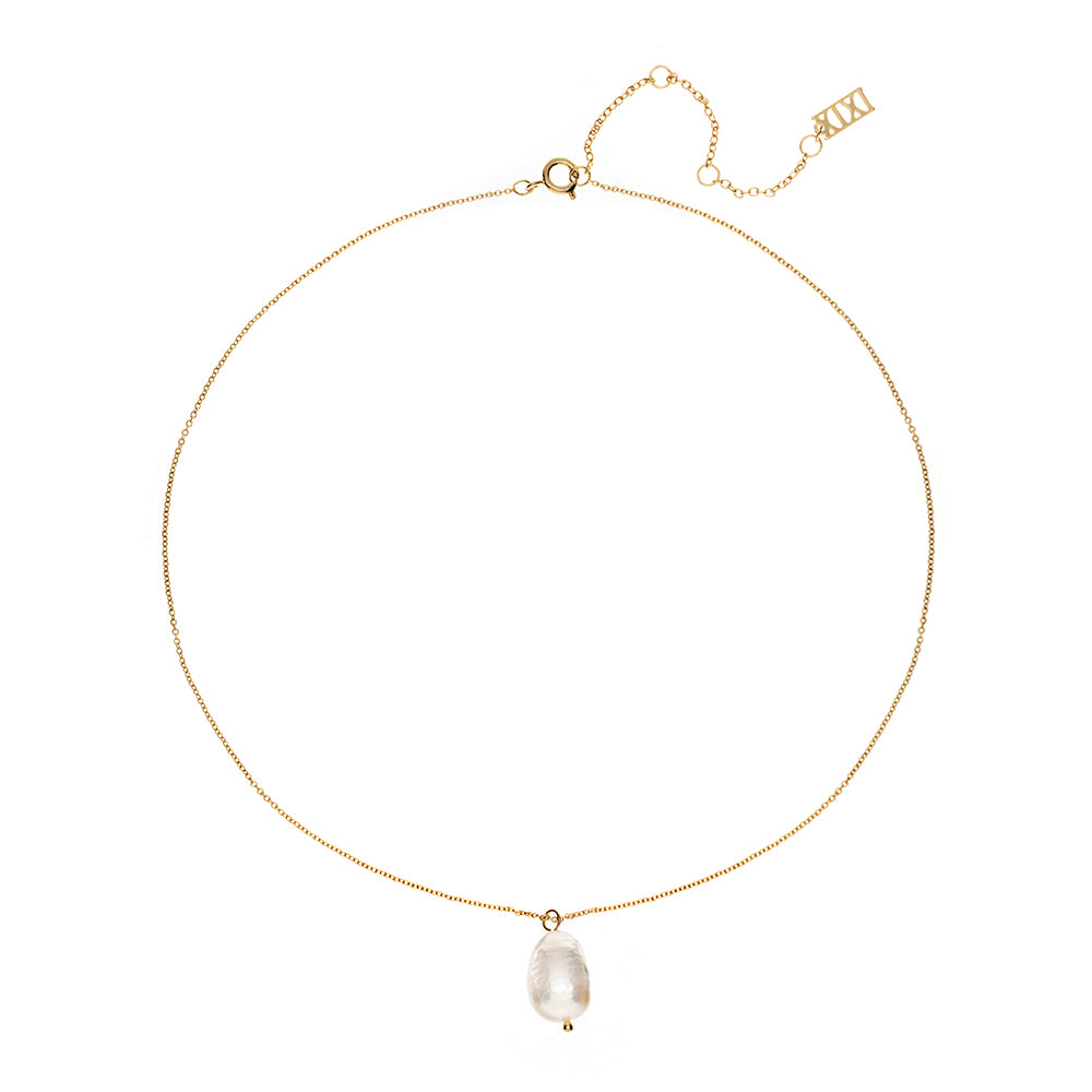 Jet Marie Pearl Drop Necklace