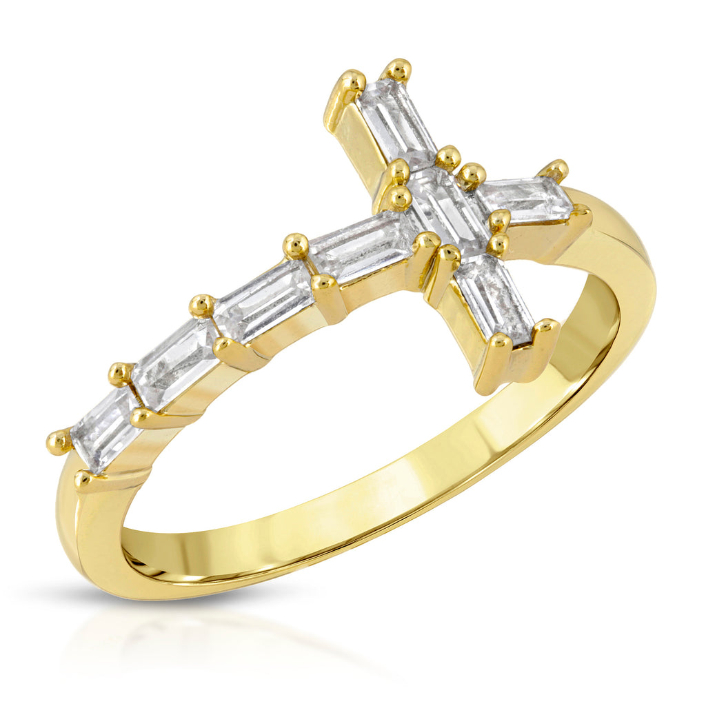 The Baguette Diamond Cross Ring