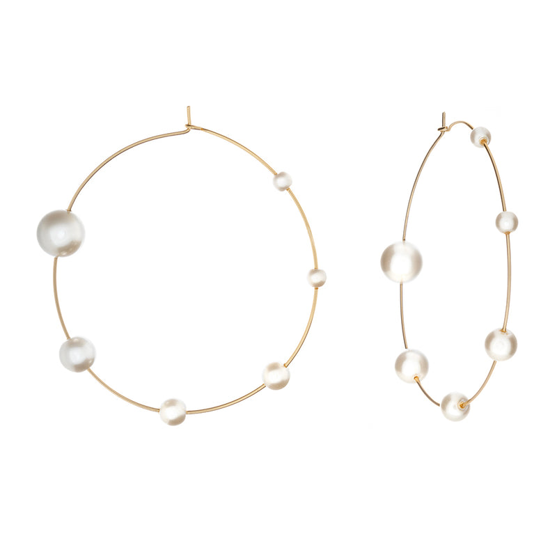 Claudette Small Pearl Hoops