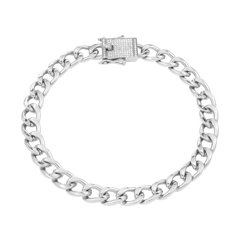 Queens Diamond Padlock Bracelet Silver
