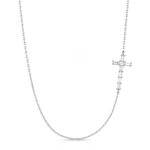 The Baguette Diamond Cross Necklace