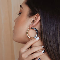 Baby Boho Hoop Earring in Black Marble