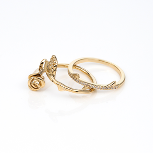GOLD LA VIE EN ROSE RING SET