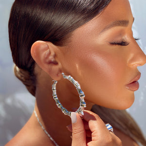 Brooklyn Bamboo Earrings Silver