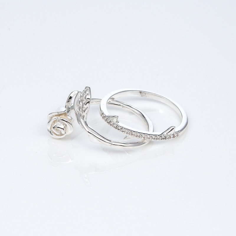 SILVER LA VIE EN ROSE RING SET