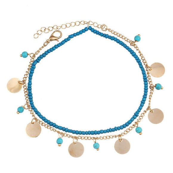 Circle Charm Anklet (Gold)