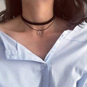 Double Strand Choker with Triangle Necklace