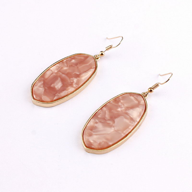 Signature Stone Drop Earrings (Pink)