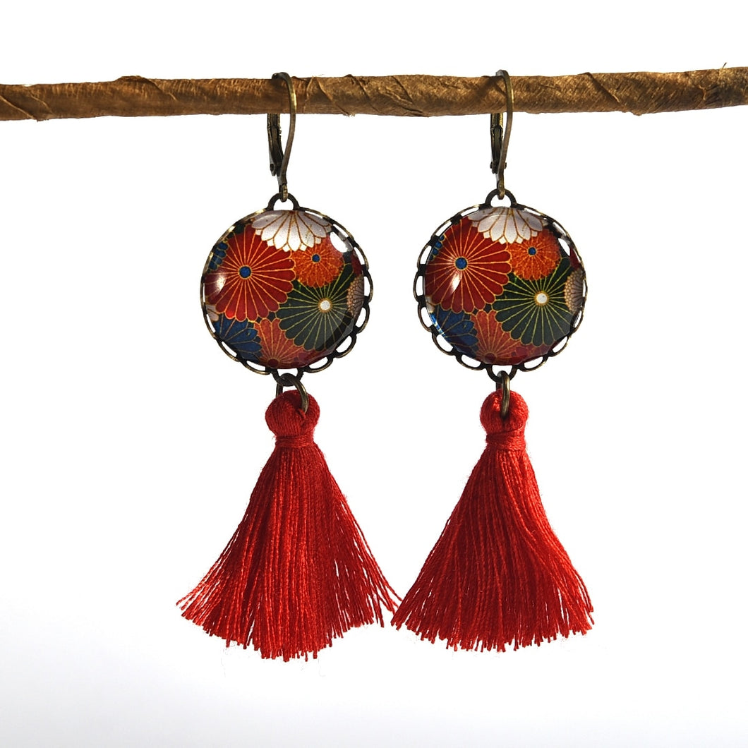 Tassel Earrings (Red)