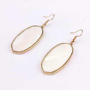 Signature Stone Drop Earrings (White)