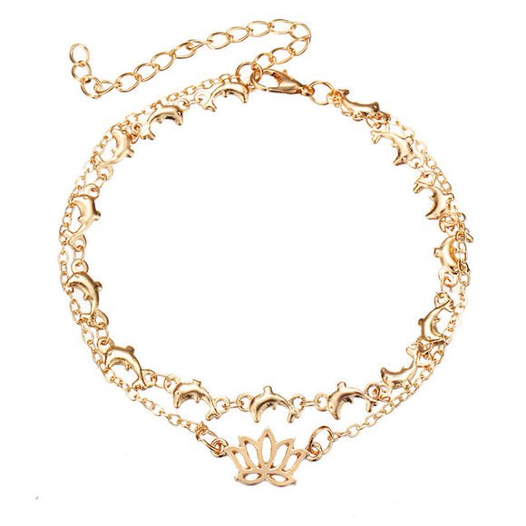 Lotus Flower and Dolphin Anklet (Gold)