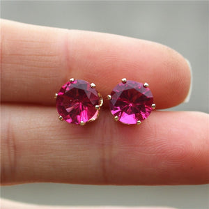 Zircon Stud Earrings (Gold,Rose)