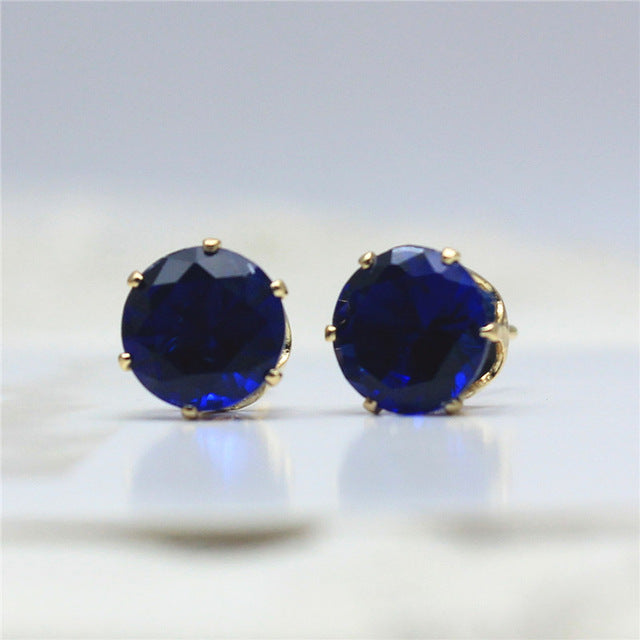 Zircon Stud Earrings (Gold,Blue)