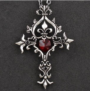 Gothic Sacred Heart Cross Necklace