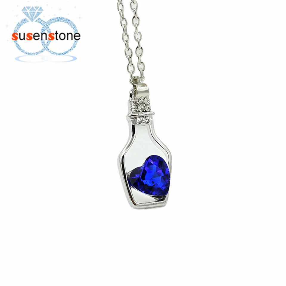 Love Drift Bottle Necklace (Blue)