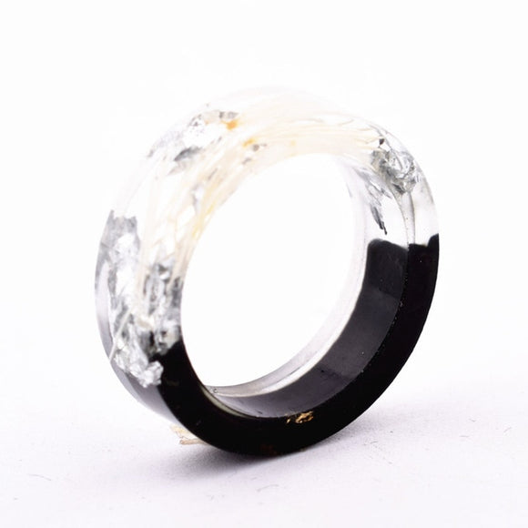 Wood Resin Ring (White/Black)