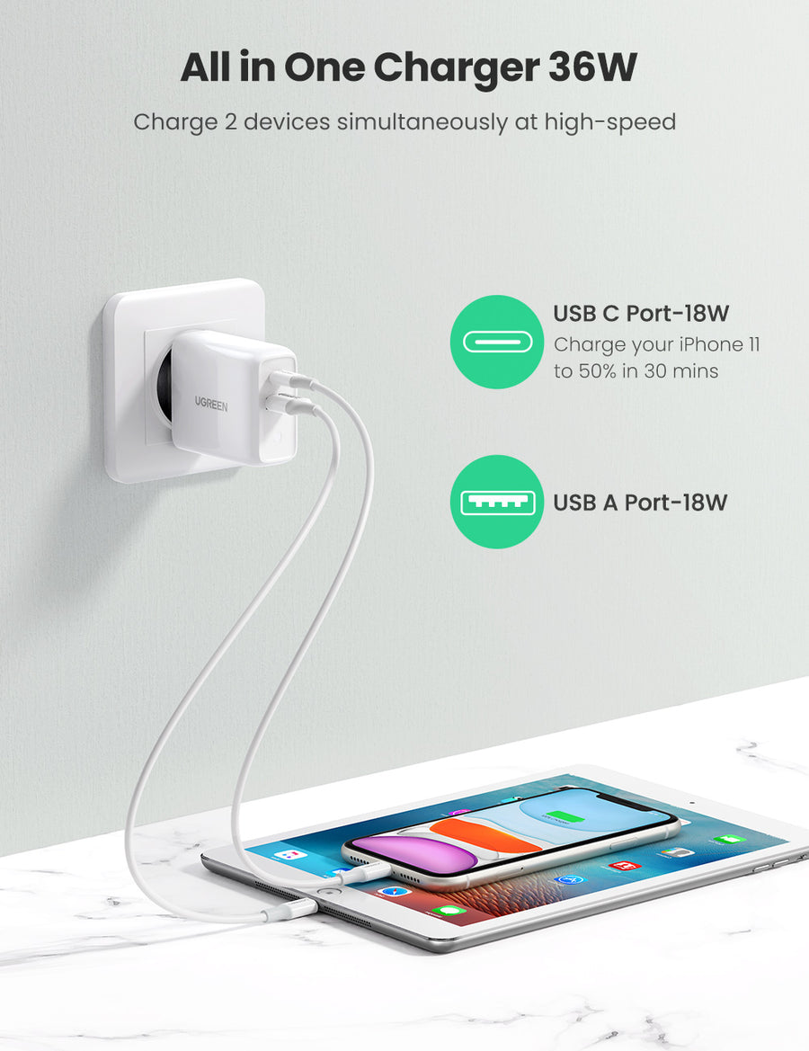 36W PD QC 3.0 Charger (EU Plug)